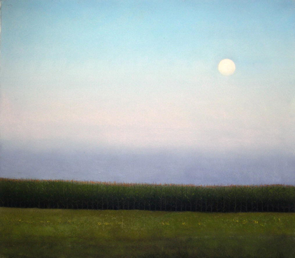 Full Moon with Corn at Dusk