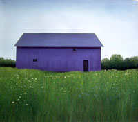 Long Blue Barn in Meadow