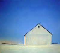 White Barn at Twilight with Snow