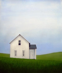 White Farmhouse and Rolling Hills