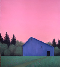 Blue Barn with Pink Sky