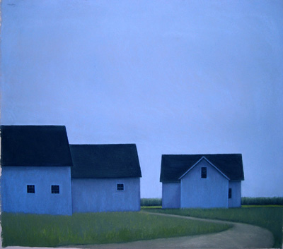 Three Blue Barns at Night