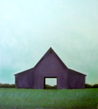 Small Purple Barn and Green